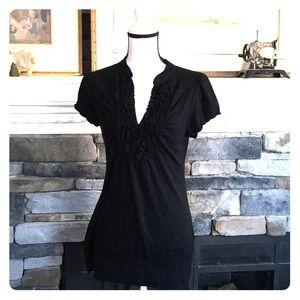Maurice xl ruffle vneck black shirt flutter sleeve
